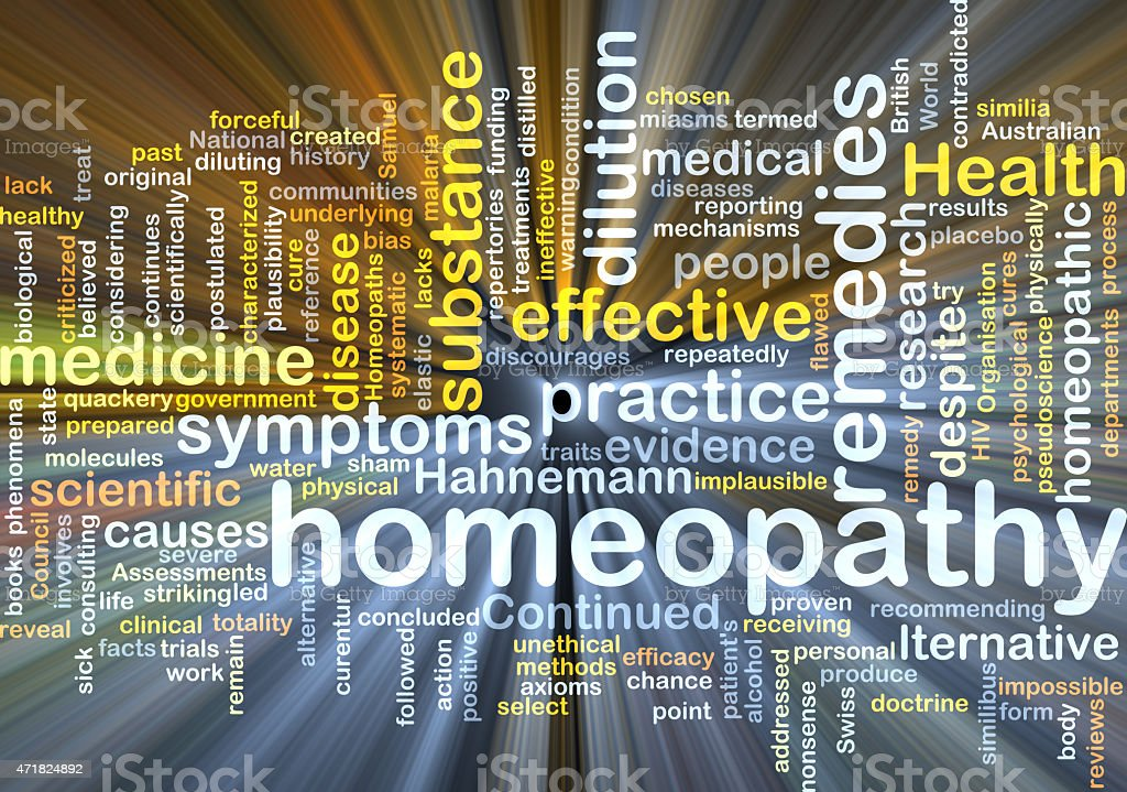 Homeopathy wordcloud concept illustration glowing stock photo