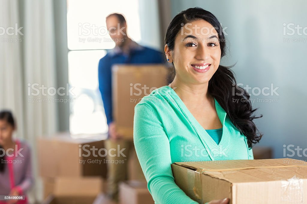 Homeowner in new house stock photo