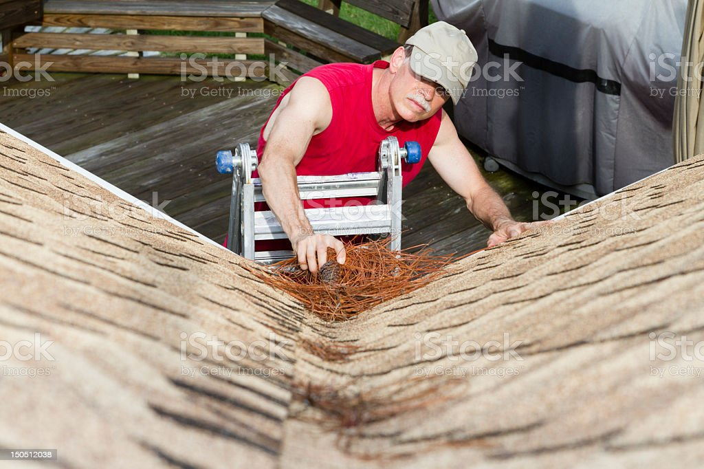 Homeowner removes pine needles from a roof valley. stock photo