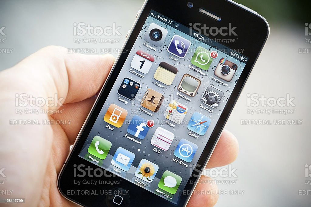 Homepage of an iPhone 4 royalty-free stock photo