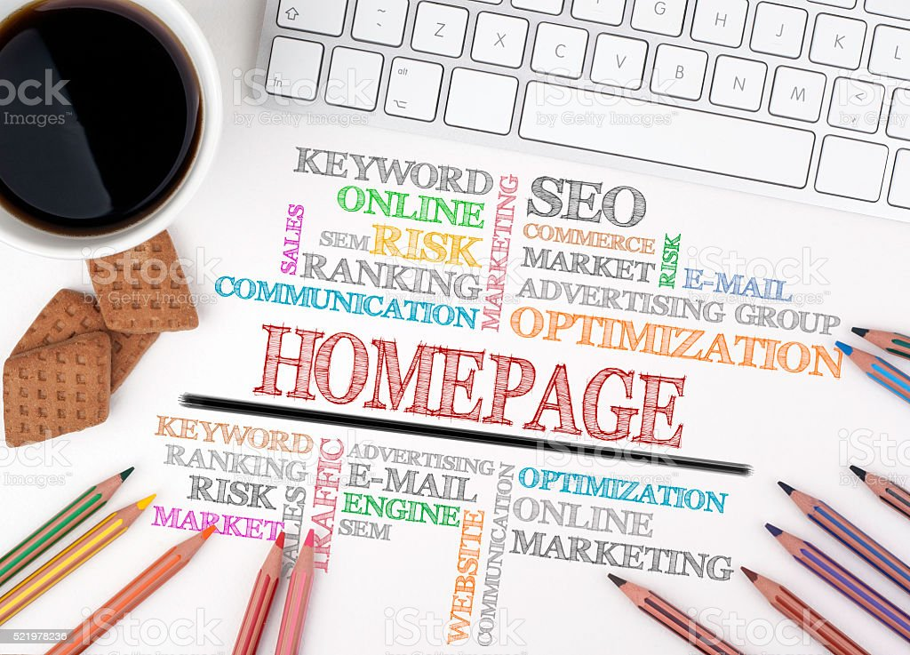 Homepage word cloud, Business concept. White office desk stock photo
