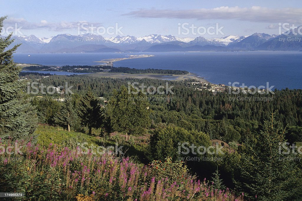 Homer Spit and Kenai Mountains in Alaska stock photo