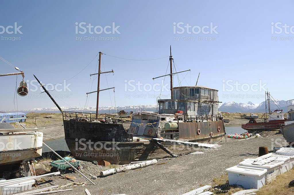 Homer Spit Houseboat stock photo