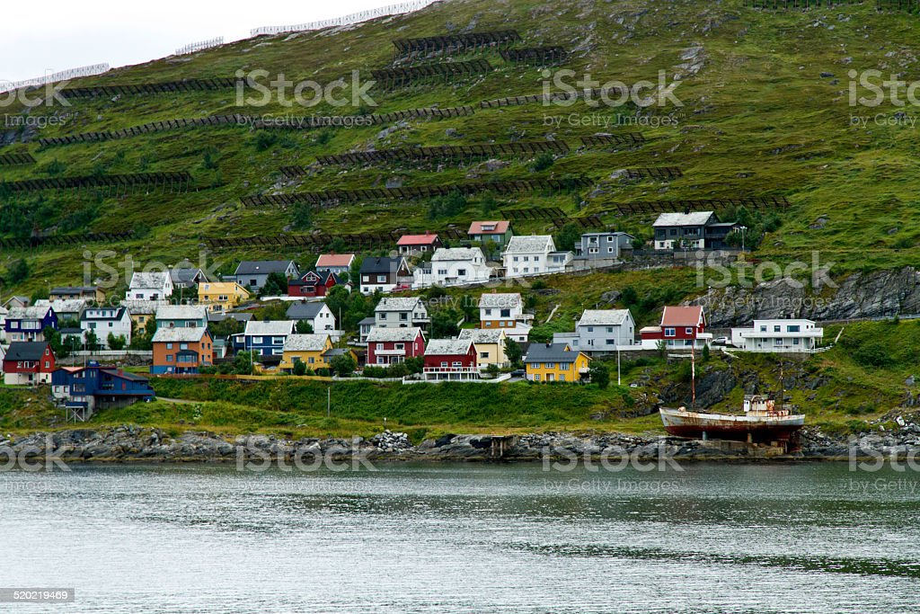 Homes and avalanche fences in Hammerfest, Norway. stock photo