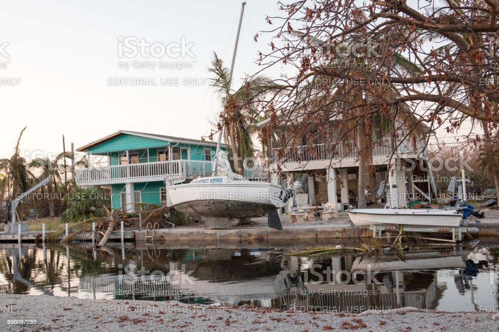 Ramrod Key, Florida, United States- Sept 17, 2017: Homes, boats and...