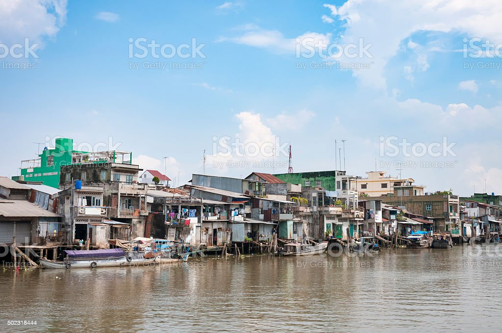 Homes And Businesses On The River Bank In My Tho stock photo