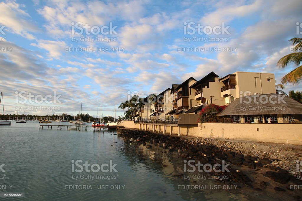 Homes at Grand Baie during Sunset, Mauritius, Africa stock photo