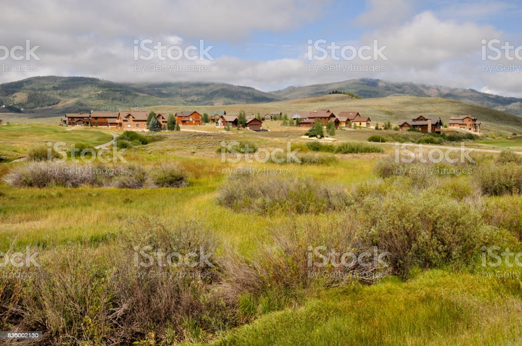 homes by a prairie in Colorado stock photo