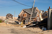 Homes damaged by a hurricane in Ortley Beach, New Jersey
