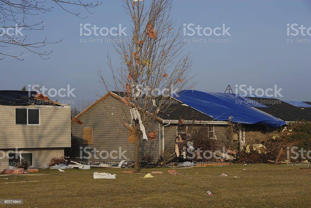Homes Damaged by January Tornado stock photo