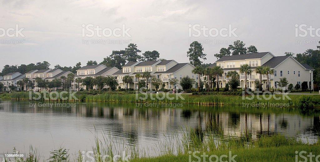 homes facing lake royalty-free stock photo