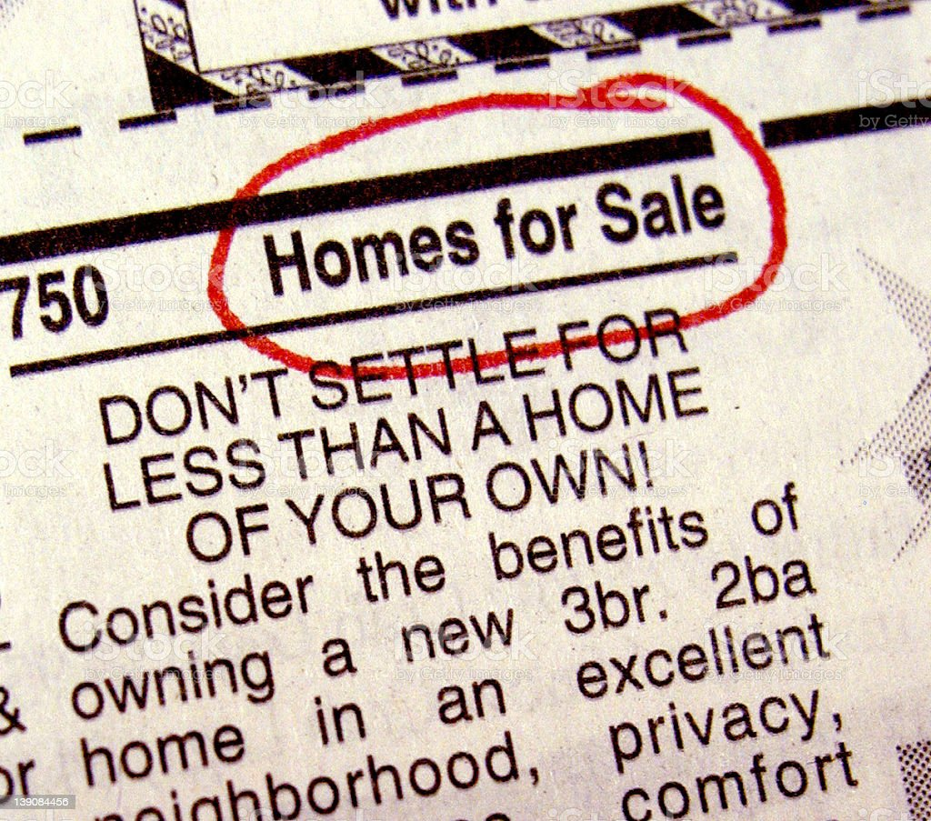 Homes For Sale Classifieds royalty-free stock photo