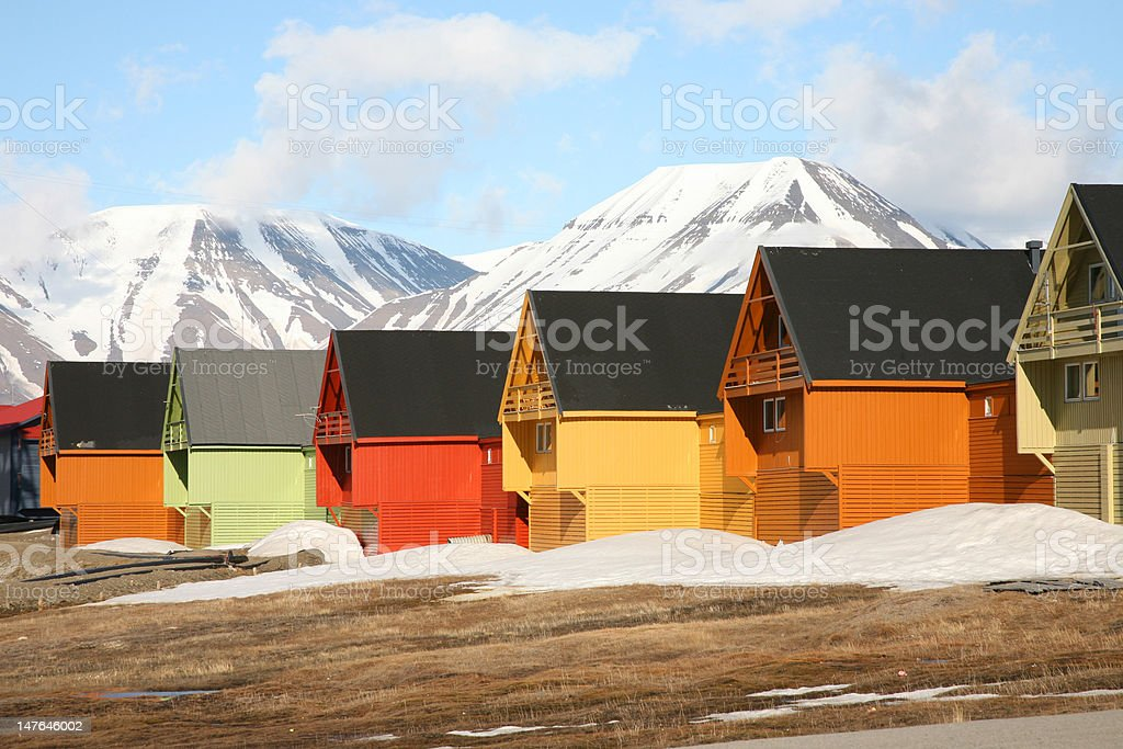 Homes in arctic landscape royalty-free stock photo