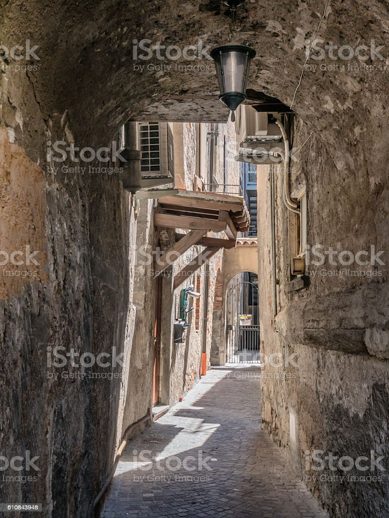 Homes in Iseo Village at lake Iseo, Italy stock photo