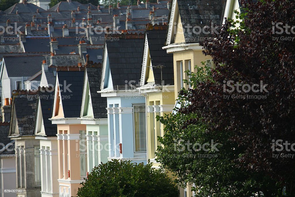Homes in Plymouth, England stock photo