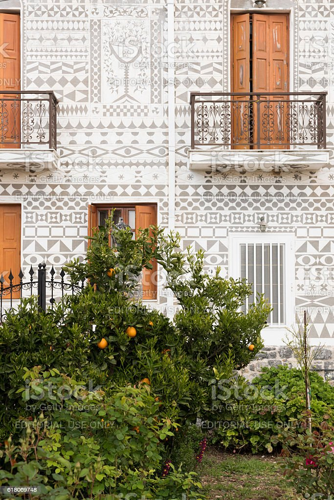 Homes in Pyrgi village on Greek Island of Chios stock photo