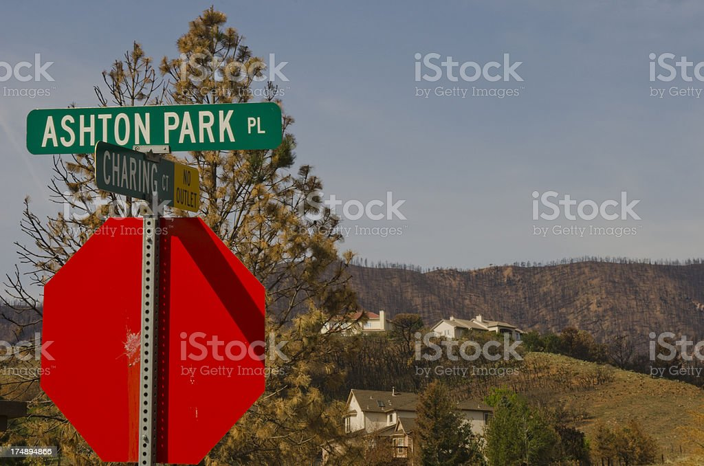 Homes Left After Forest Fire stock photo