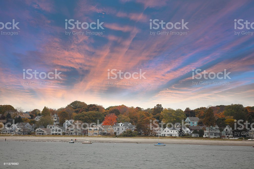 Homes on a bay with majestic sky stock photo