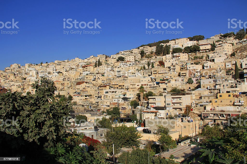 Homes on a Hillside in Jerusalem, Israel stock photo