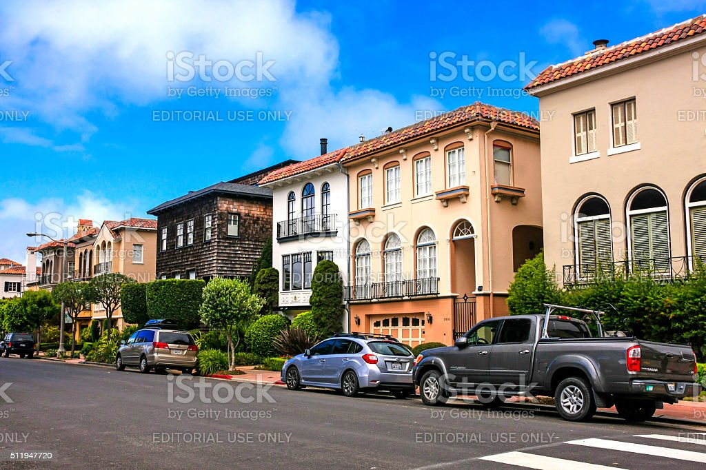 Homes on Baker Street in San Francisco stock photo