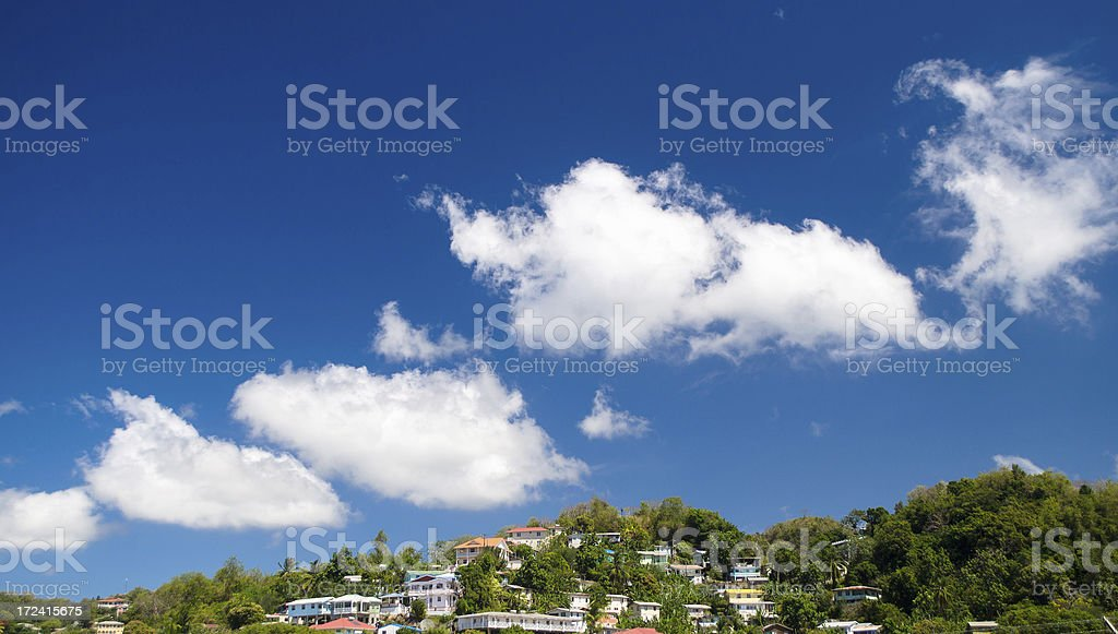 homes on hill stock photo