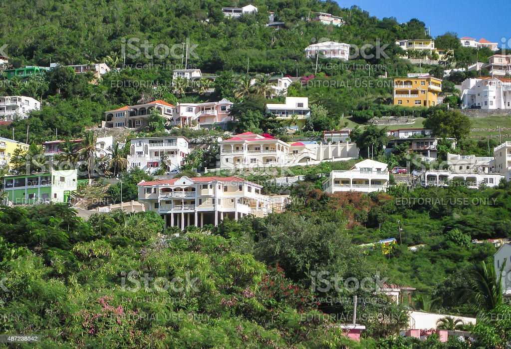 Homes on Saint Martin stock photo