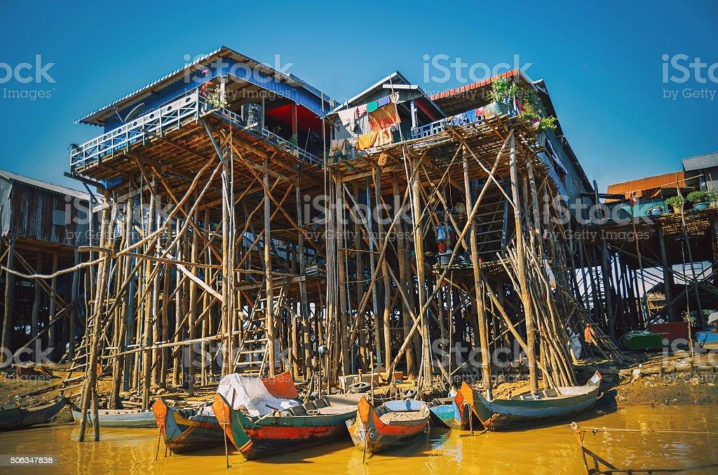 Homes on stilts on the floating village of Kampong Phluk stock photo