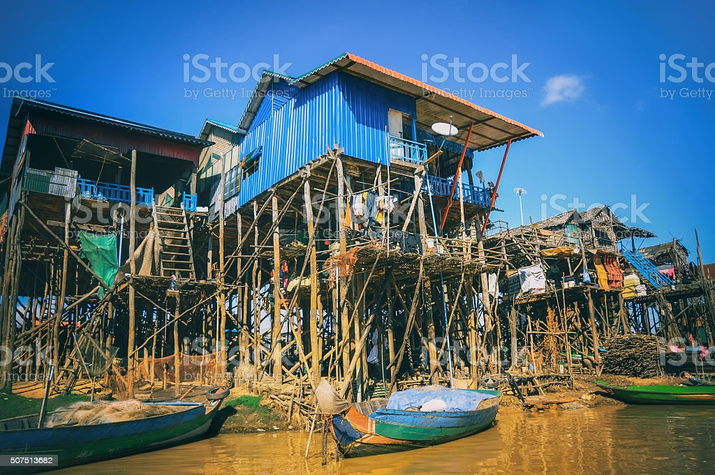 Homes on stilts on the floating village of Kampong Phluk stock photo