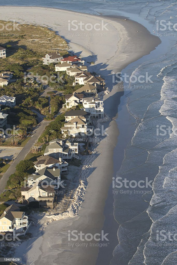 Homes on the Edge - Beach Erosion stock photo