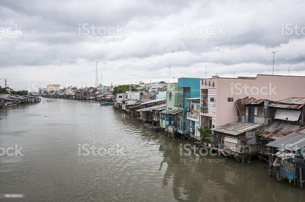Homes On The Mekong River In Vietnam royalty-free stock photo