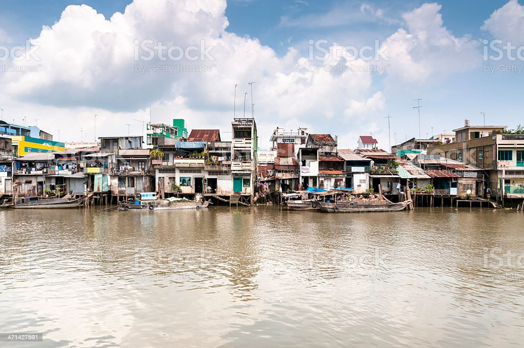 Homes On The Mekong River In Vietnam stock photo