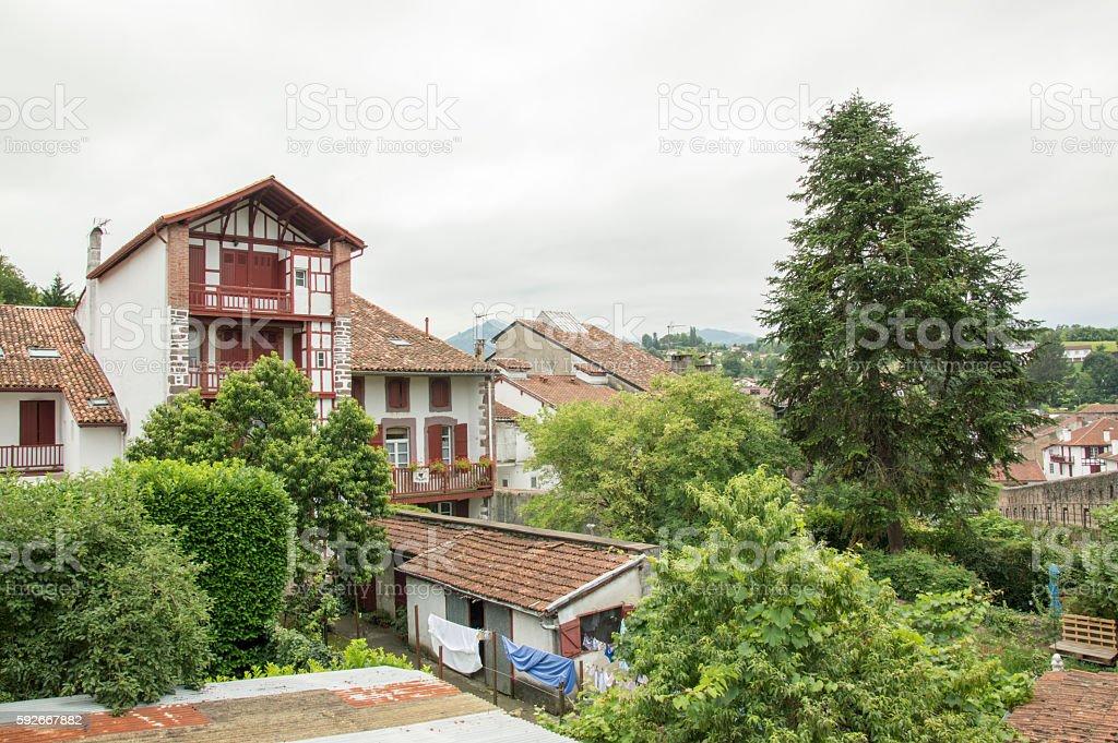 Homes Saint Jean Pied de Port stock photo
