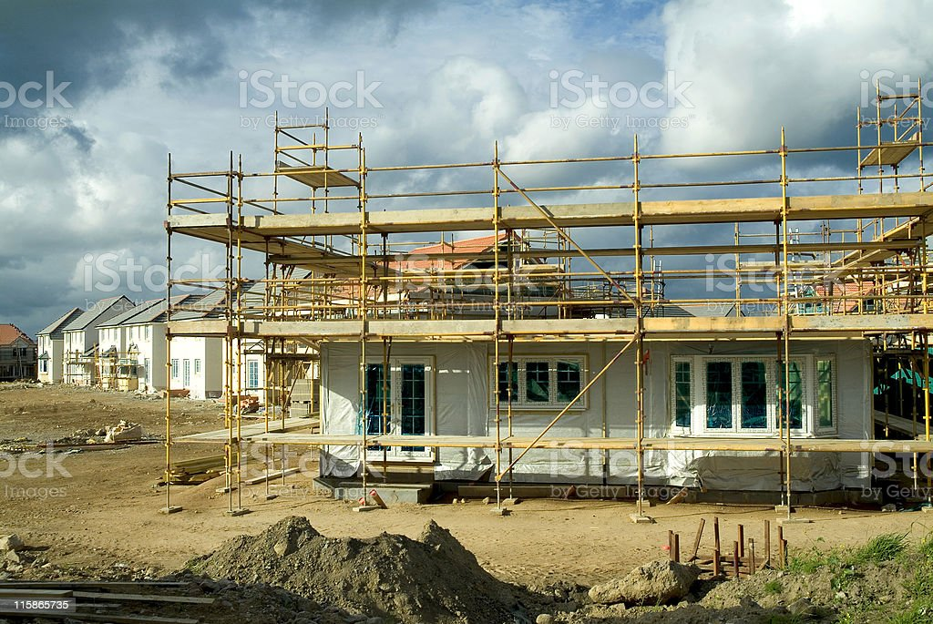 Homes under construction stock photo