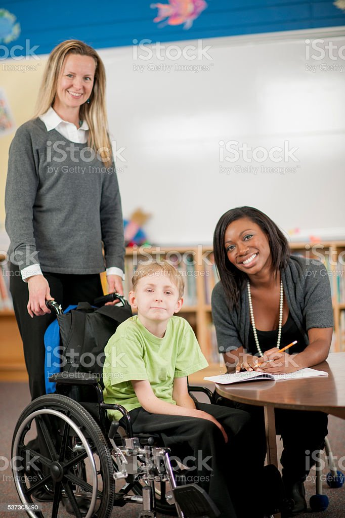 Homeschooling a Child with Disability stock photo