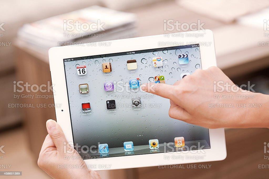 Homescreen on Apple iPad 2 3G stock photo
