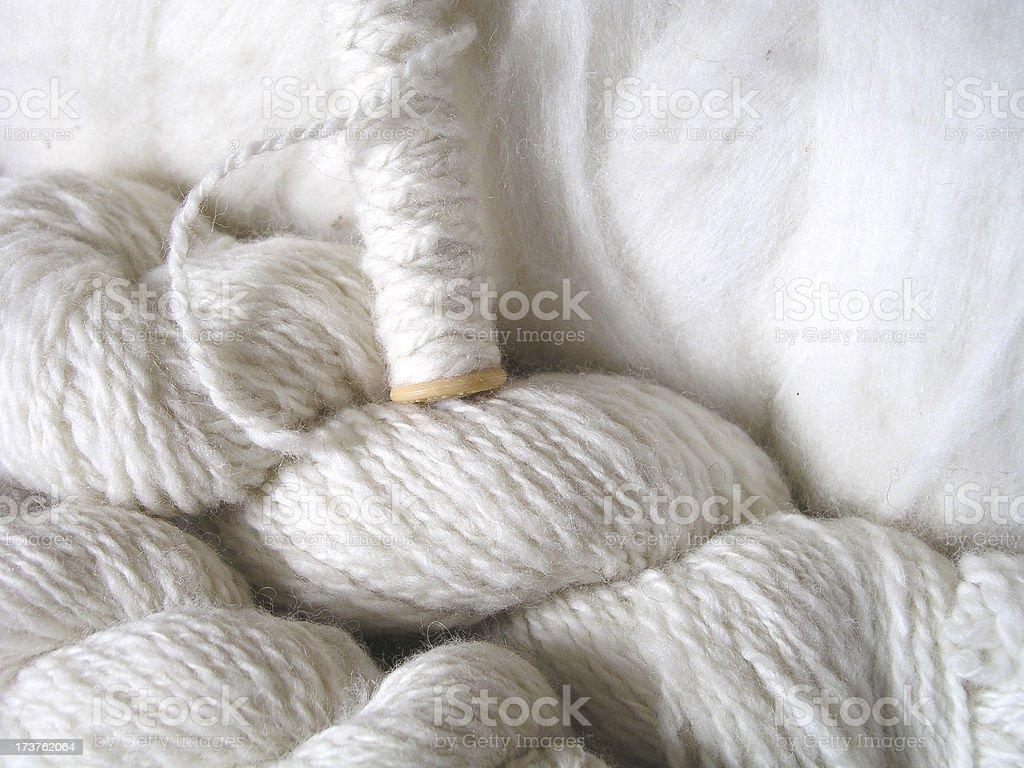 Homespun white yarn stock photo