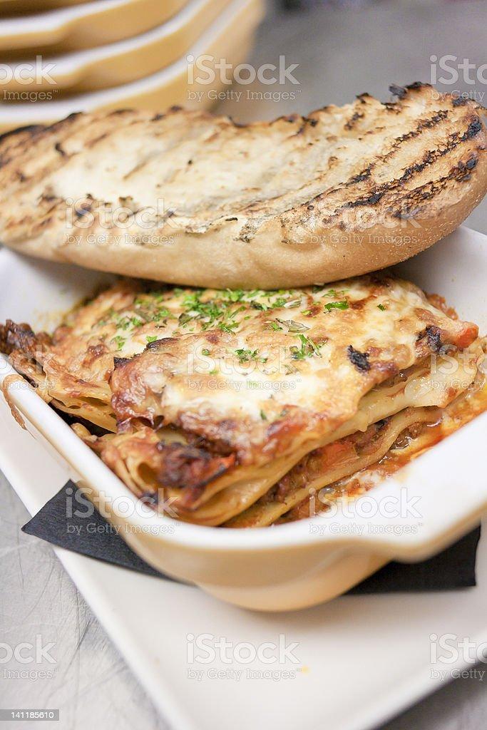 Homestyle Lasagna and Garlic Toast royalty-free stock photo