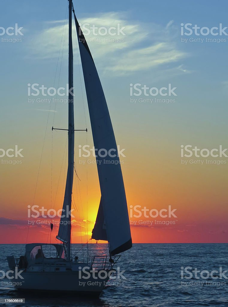 Homeward in silhouette stock photo