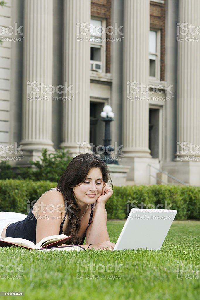 Homework on the Campus Lawn royalty-free stock photo