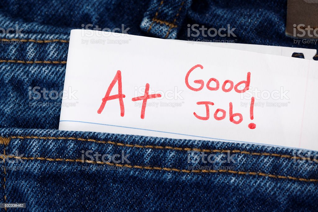 Homework or Exam Graded  A+ and Good Job stock photo