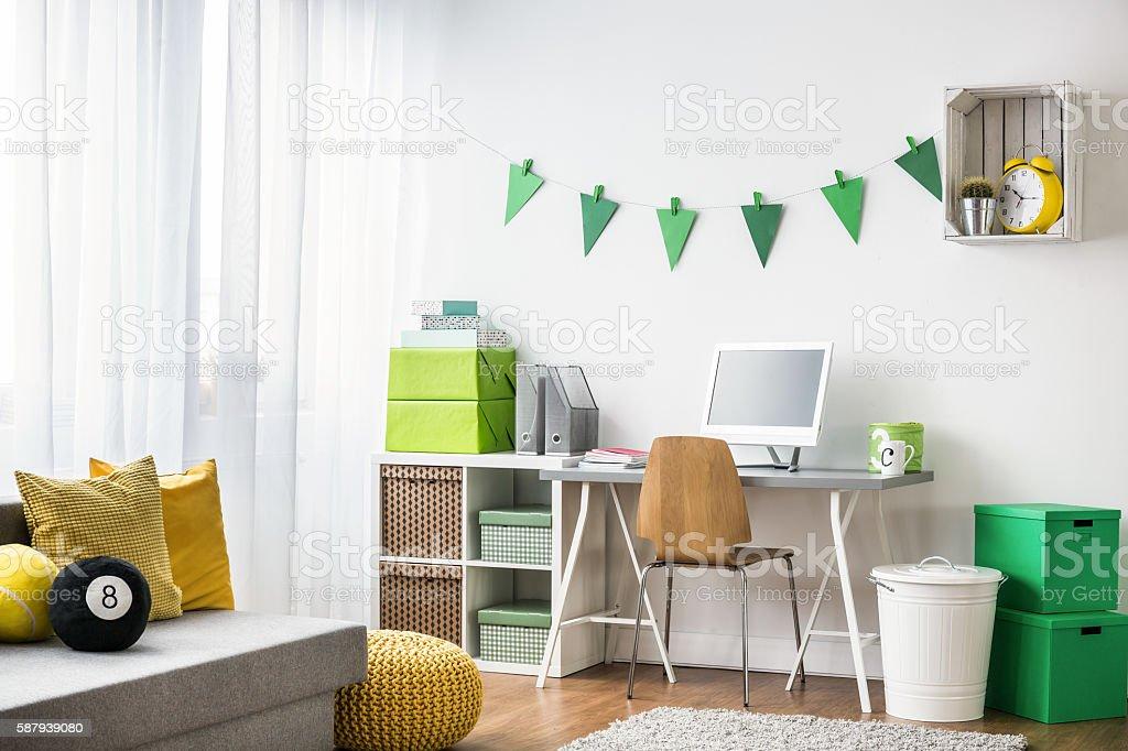 Homework room design for teenager stock photo