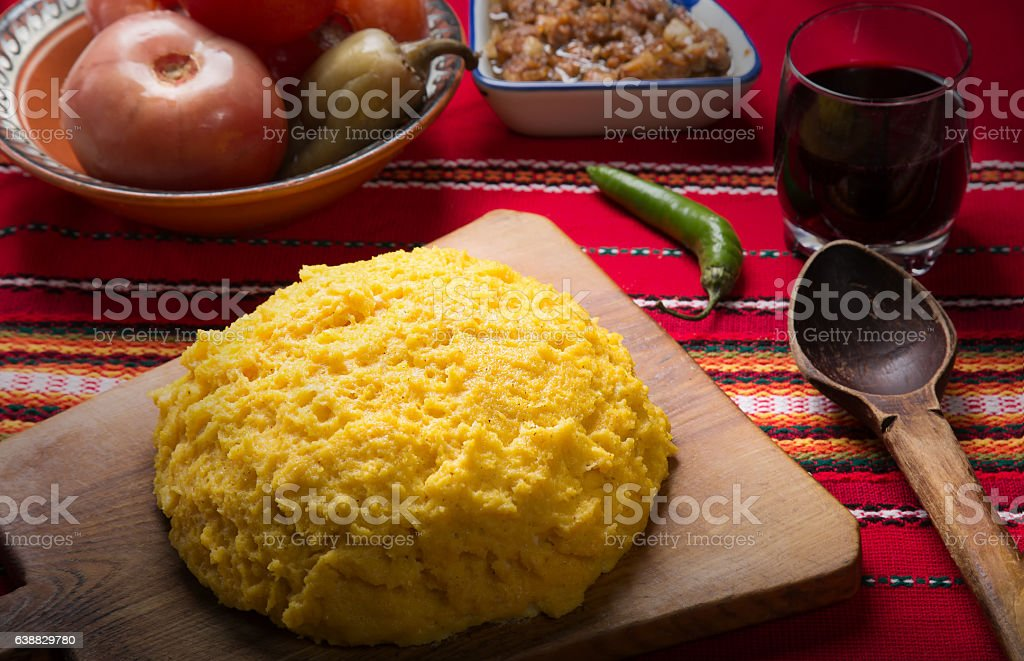 Hominy on a wooden plank. stock photo