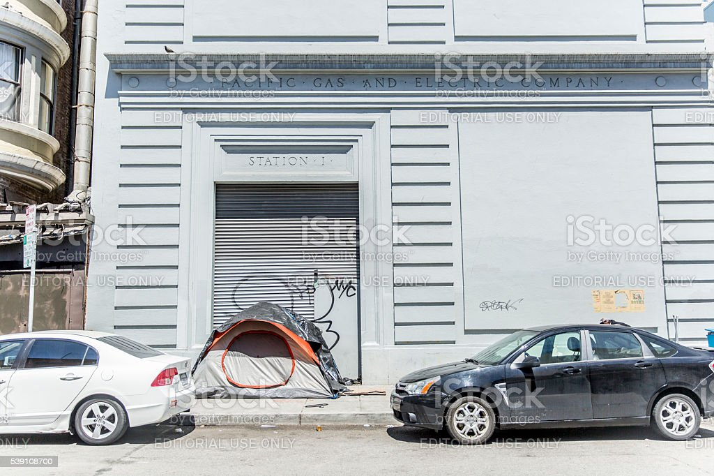 Homless Encampment on Minna Street in San Francisco stock photo