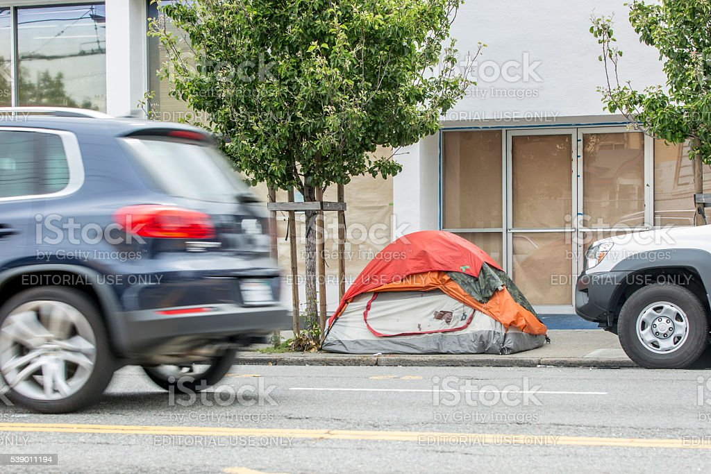 Homless Encampment on South Van Ness Street in San Francisco stock photo