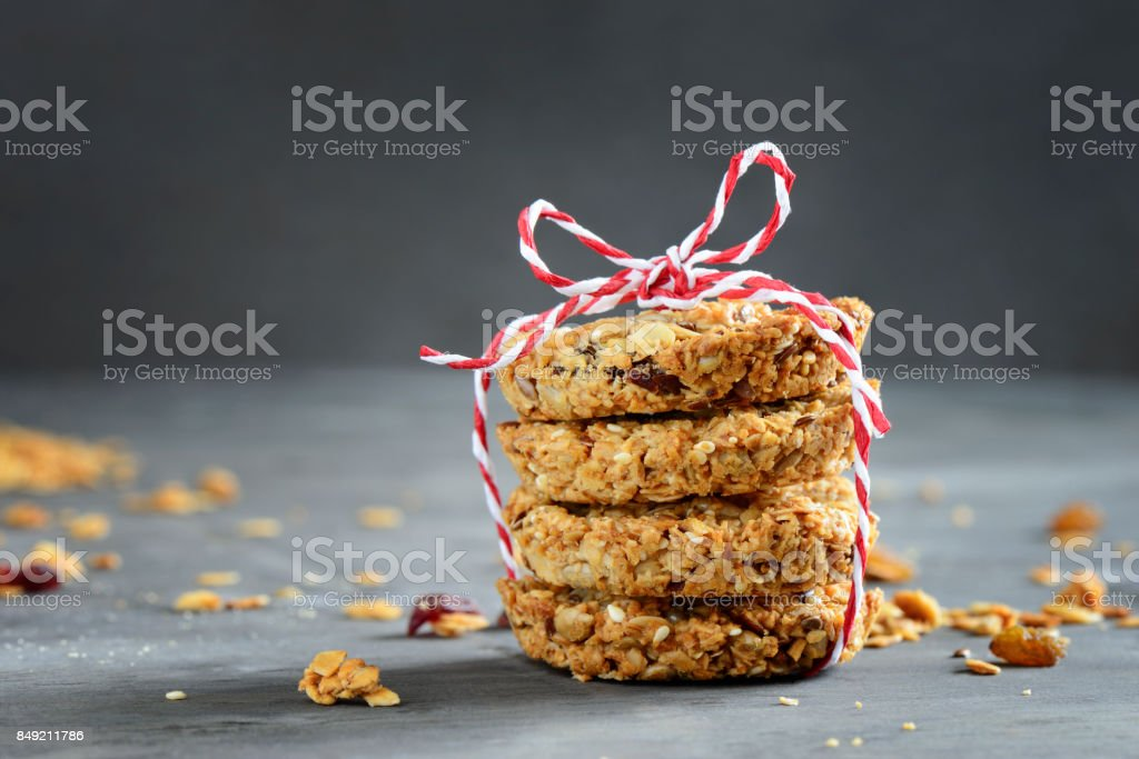 Hommemade granola put in a stack stock photo