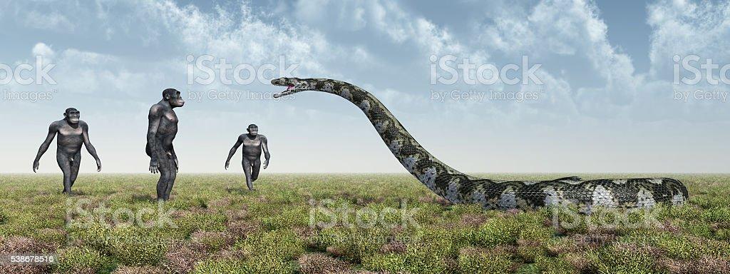 Homo Habilis and Titanoboa stock photo