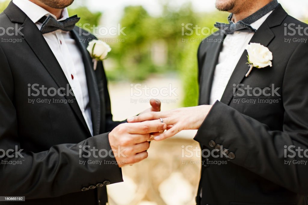 Homosexual couple wedding ceremon stock photo