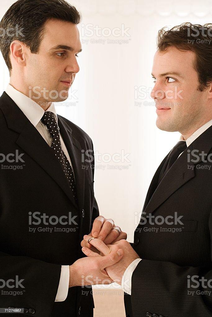 Homosexual couple wedding ceremony stock photo