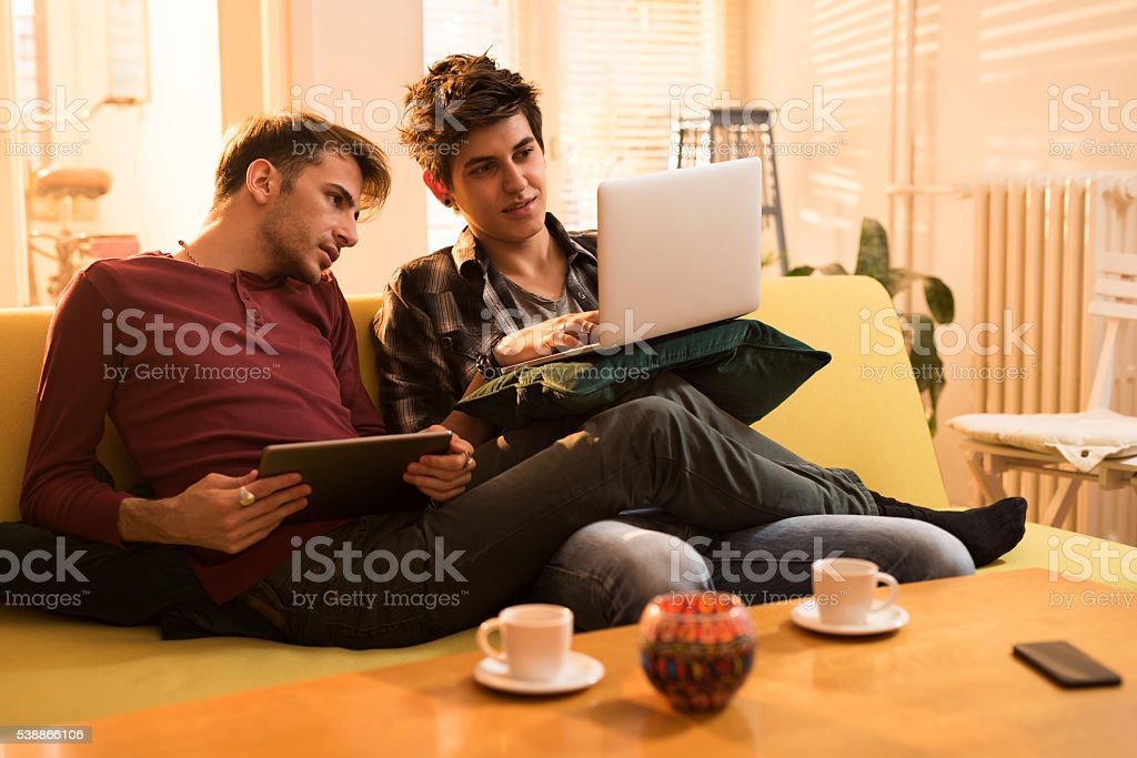 Homosexual men using wireless technology in the living room. stock photo