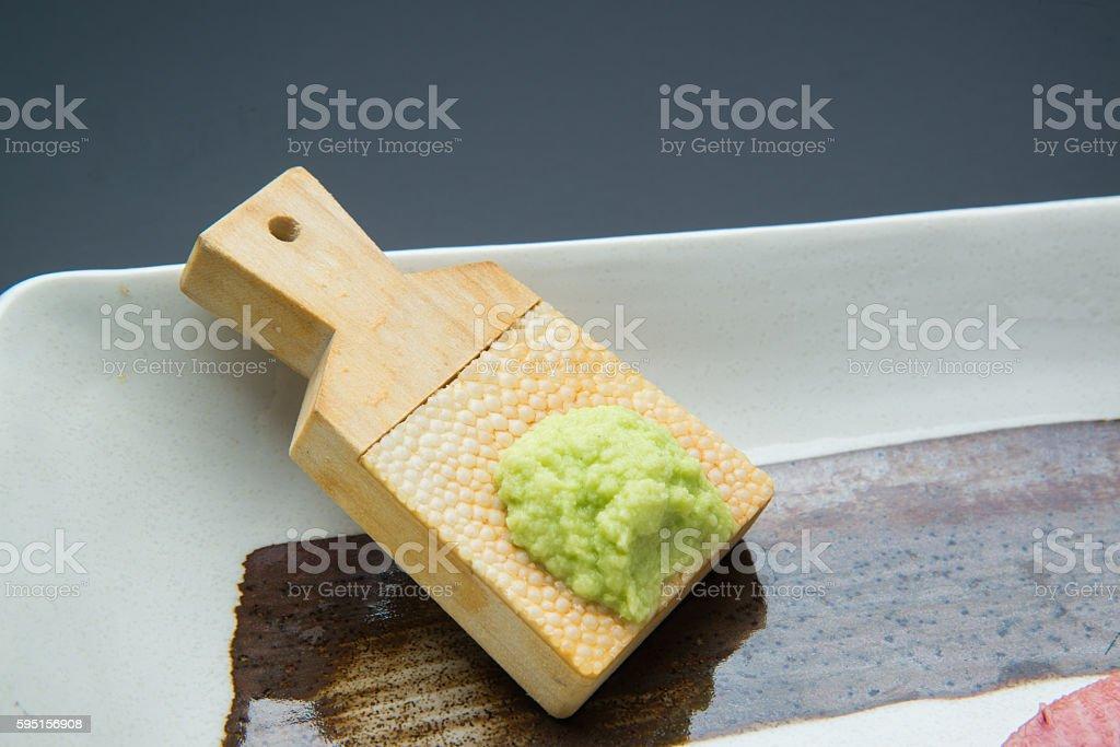 hon wasabi with shark skin grator stock photo